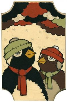 Michael Sieben — Not This Winter #penguins #wood #paint #illustration #sieben #michael
