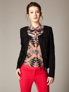 Matthew Williamson Woven Crepe Ruffle Trim Jacket #fashion #gilt #pattern