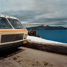 Motorhome at Overlook, Crater Lake National Park, OR 1980 #motorhome #photo #photography #vintage