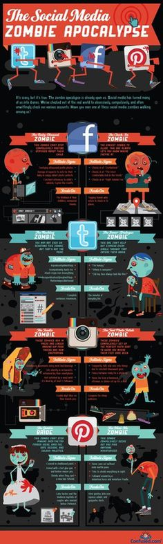 Social media zombie infographic #tech #apocalypse #zombie #media #social