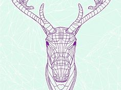 Snowblinded™ - Polygon 40 Screen Print #antlers #cozzi #print #denver #colorado #screen #art #caribou #snowblinded