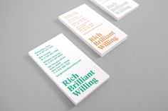 Project Projects — Rich Brilliant Willing identity #print #cards #business