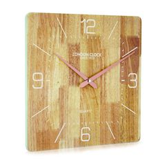 London Clock Company 'Flux' Solid Wood Wall Clock, 35cm x 35cm