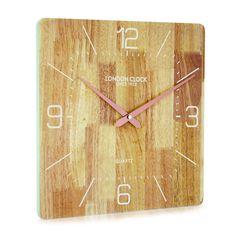 London Clock Company 'Flux' Solid Wood Wall Clock, 35cm x 35cm
