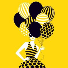 Happy tuesday! Illustration created for Papyrus greeting cards #illustration #woman #ballon #shadow #graphic #graphicdesign