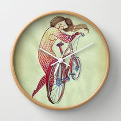 Bicycle hugger Wall Clock #interior #bicycle #cyclist #cycling #print #product #illustration #clock
