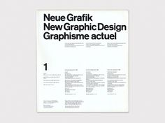 Display | Neue Grafik Magazine 1 | Collection #modernism #grid #helvetic