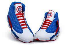 """New Basketball Sneakers Nike Michael Jordan Retro 13 \""""Captain American\"""" Custom"""