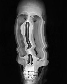skull on scanner #skull #scanner #blackandwhite #psychedelic
