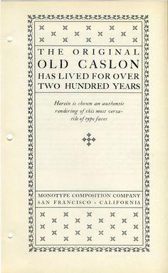 Monotype Caslon type specimen #type #specimen