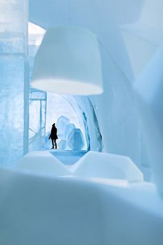 Ice hotel with artistic interior #hotel #ice #art