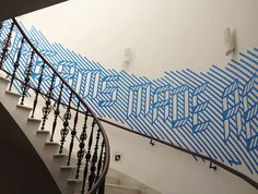 MacFadden & Thorpe #lines #sign #wall #signage #type #blue #3d #typography
