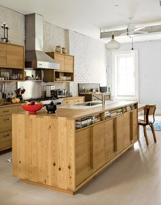 Photo #brick #kitchen #wood work