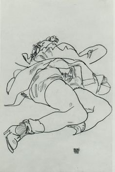 Egon Schiele  Reclining Woman with Raised Skirt