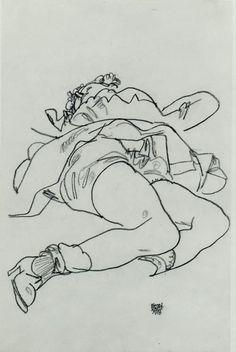 Egon Schiele  Reclining Woman with Raised Skirt