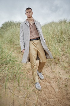 Harmony coat worn for Bare Minimum END. editorial at the beach