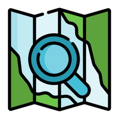 See more icon inspiration related to search, map, maps and location, loupe, map pointer, map point, map location, placeholder, route, pointer, guide, maps, orientation, folded, pin, paper and location on Flaticon.