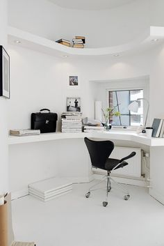 Decordots:All white living #white #office #home #clean #desk #minimal #workspace
