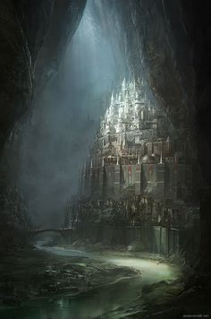 lbrtsd:netherworld archipelago the capitalJesse van Dijk [website | CGHub | CGPortfolio] #fantasy #underground #city #subterranean #illustration #concept #art