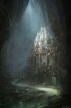 lbrtsd:netherworld archipelago the capitalJesse van Dijk [website|CGHub|CGPortfolio] #fantasy #underground #city #subterranean #illustration #concept #art