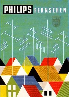 Vintage philips ad #cityscape #vintage #philips #houses #antennas