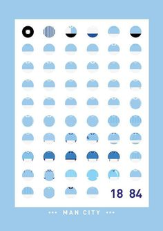 Man City kit design through the years #vector #sport #print #design #soccer #blue #football