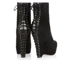 Corset boots #ysl #yves #shoes #laces #gear #heel #wedge #heels #laurent #corset #sant #high #fetish