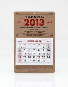 2013 18 Month Calendar #note #calendar #field