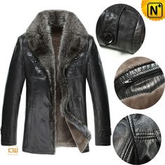 Mens Shearling Lined Fur Leather Coat CW868871