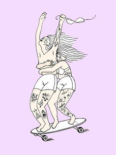 Grace Garcia Salcedo - Girls on wheels #illustration #skate #girls
