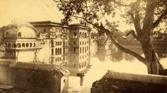 Water Palace, Deeg, 1884 #ripples #water #sepia #india #photography #sunlight #palace #reflection #lake