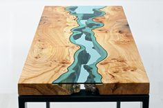 Table Topography: Wood Furniture Embedded with Glass Rivers and Lakes by Greg Klassen wood table rivers lakes furniture #design #table #embedded #glass #product #wood #topography #river