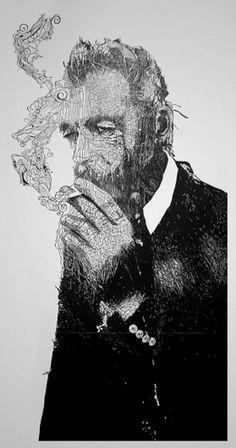 Linocuts by Hubert Tereszkiewicz | Colossal #illustration #smoking #linocut #art