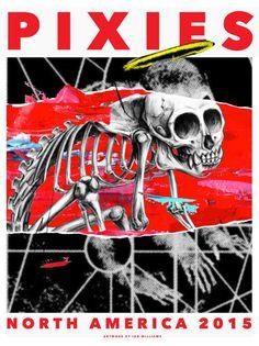 Pixies Gigposter #skeleton #print #monkey #screen #gigposter #pixies #poster #skull
