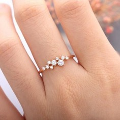 Rose Gold Engagement Ring,Diamond Cluster ring,Flower Wedding ring, Mini Twig Bridal Jewelry, Unique - birthday gifts