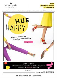 Happy Hue Kate Spade #design #happy #kate #mailer #newsletter #hue #emailer #subscribe