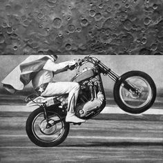 Dan Bina, Ride On #oil #bina #dan #realism #painting #art #canvas #motorcycle #moon