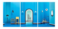 interior design blue minimal mindsparkle mag danish scandinavian designer sweden beauty beautiful product mirror clock chair room chambre