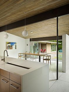 Lakewood Mid Century by DeForest Architects #interior #dining #modern #ceiling #design #wood #architecture #room