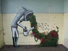 Surreal artist Phlegm and his wall street art