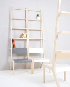 Object-B is a multifunctional piece: chair, shelf, and ladder. Both furniture and art, Object-B can be curated into the living space