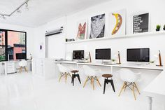 Office Space that inspires // Офис пространство, което вдъхновява | 79 Ideas #white #prints #office #books #clean #minimal #library #imac #shelf #eames