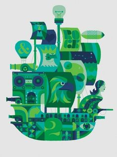 adrian johnson ltd > work #blue #illustration #boat #green