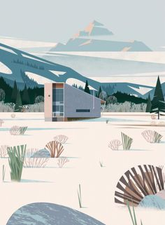 illustration, architecture, mountains, snow, winter, modern