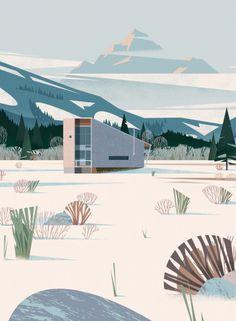 illustration, architecture, mountains, snow, winter, modern