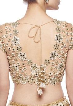 v blouse designs mirror work