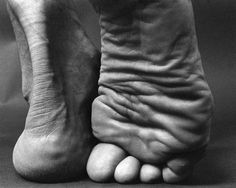 Photographs by Lucyna Kolendo :: Title: Bertrand Russell #form #white #toes #stand #foot #anatomy #black #skin #human #heel #photography #crease #and #wrinkles #feet