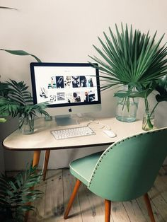 bring some green to your work space #home office #workspace