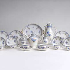Coffee and tea service 'Bleu mourant' for 12 persons #porcelain