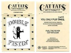 Double Fistin Temporary Tattoos #fonts #tat #ink #copywriting #packaging #cat #temporary #tattoo